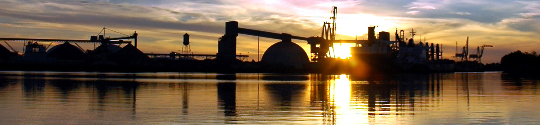 Sun setting over the Port of Stockton