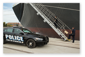 Port of Stockton police boarding a cargo ship
