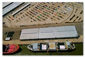 Overhead view of the dock and the warehouses nearby