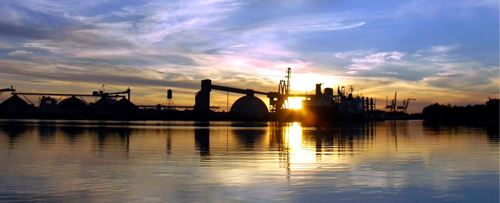 Port of Stockton landscape at sunset