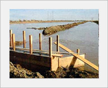 1980's Early construction of the Channel Deeping project