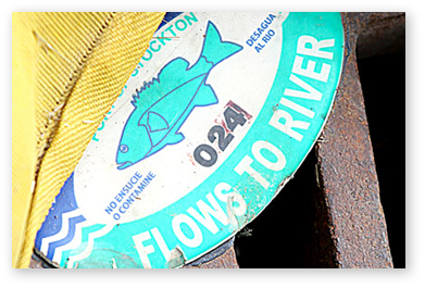 """Metal tag on storm drain - """"Flows to River"""""""
