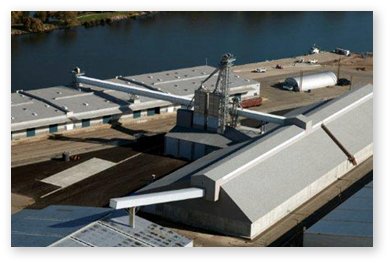 Overhead view of the grain warehouse at the Port