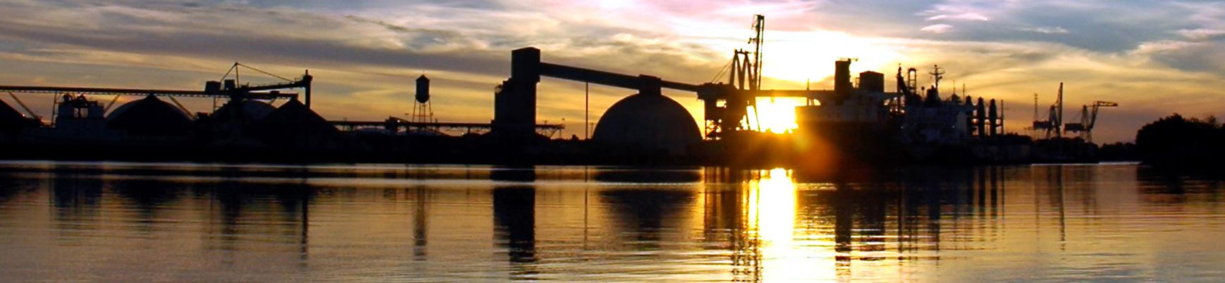Sun setting over the Port of Stockton
