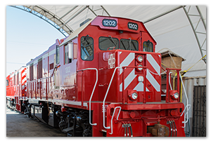 A Red Train at the Pot Facilities