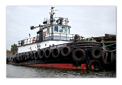 A close-up of a tugboat at the Port of Stockton.