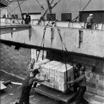 Old picture of workers unloading good from a ship*