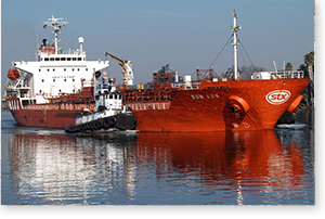 This is an overview of a cargo ship reaching Port of Stockton